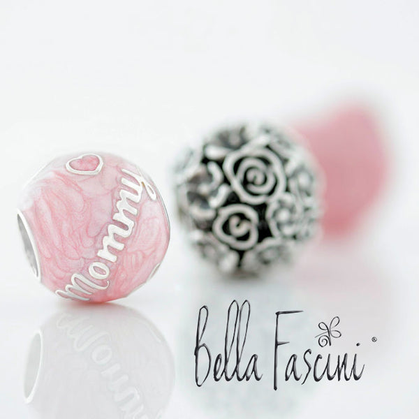 Family Bead Charm - MOMMY - Luxe Color™ Enamel Bead Charm - Pink on Pink Pearlescent - Bella Fascini fits Pandora