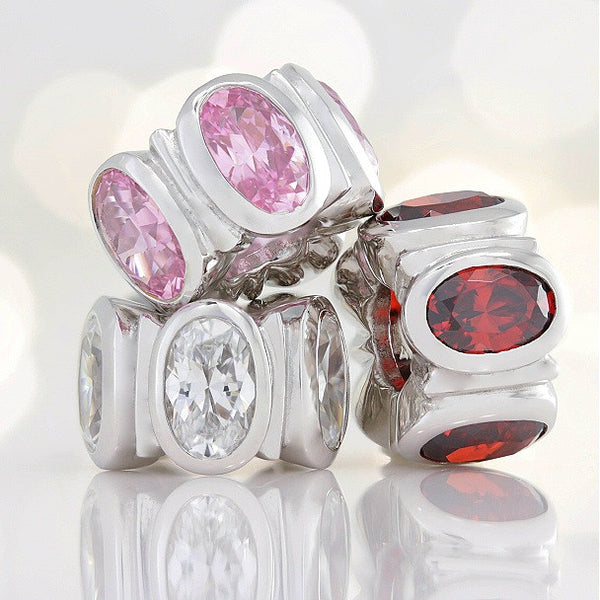Oval CZ Lights Bead Charm - Pink - Bella Fascini fits Pandora