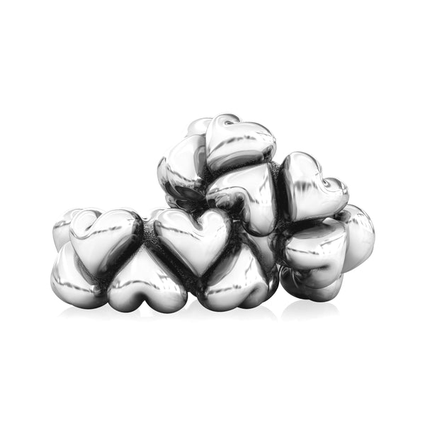 Spacer Bead Charm - Puffed Hearts - Bella Fascini fits Pandora