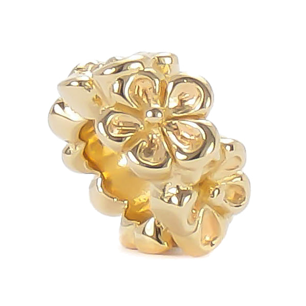 Spacer Bead Charm - 14K Gold Vermeil Flower Band - Bella Fascini fits Pandora