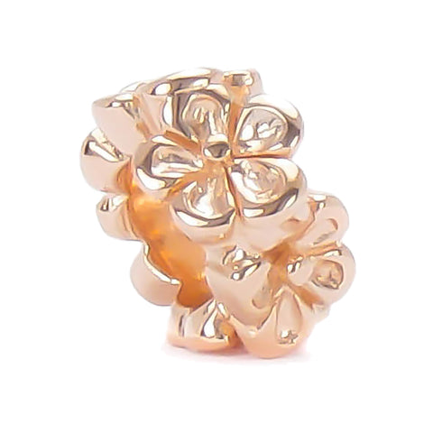 Spacer Bead Charm - 14K Rose Gold Vermeil Flower Band - Bella Fascini fits Pandora