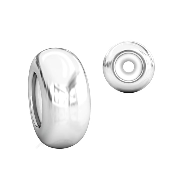 Stopper Bead Charm with Ultra Silicone Core - Plain Smooth - Bella Fascini fits Pandora