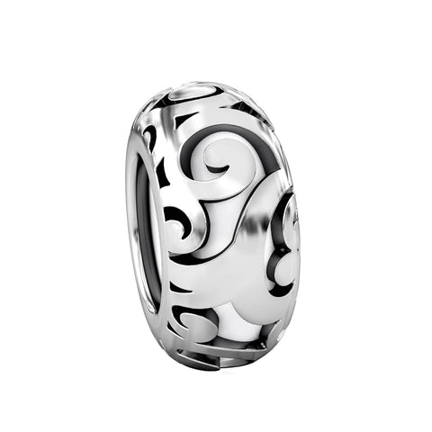 Stopper Bead Charm with Ultra Silicone Core - Scroll Swirl - Bella Fascini fits Pandora