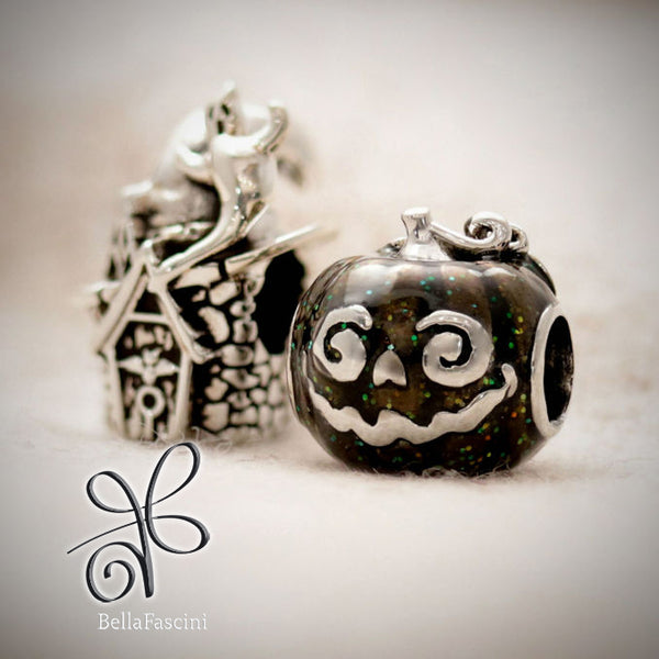 Bella Fascini Witch Hat House Halloween Silver Charm Bead