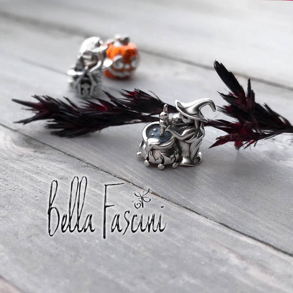 Halloween Pumpkin Jackie-O Luxe Color™ Enamel Bead Charm - Blaze Orange - Bella Fascini fits Pandora