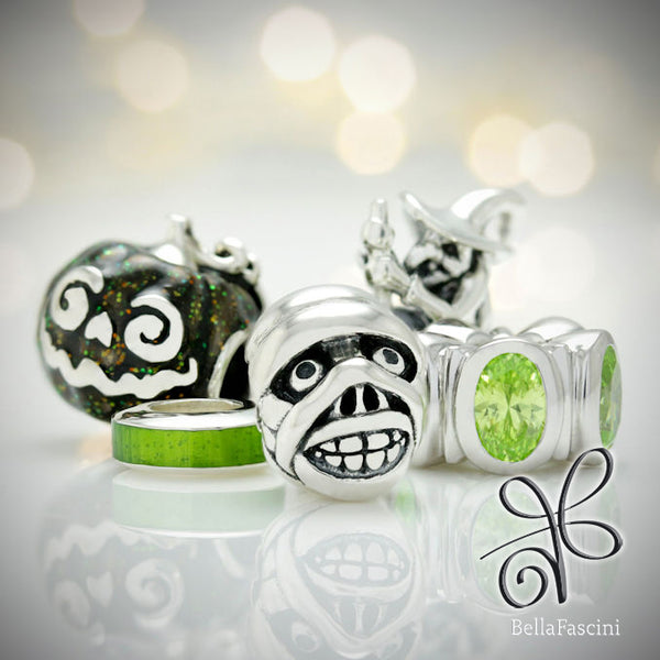 Halloween Pumpkin Black Magic Jack Luxe Color™ Enamel Bead Charm - Black Magic - Bella Fascini fits Pandora