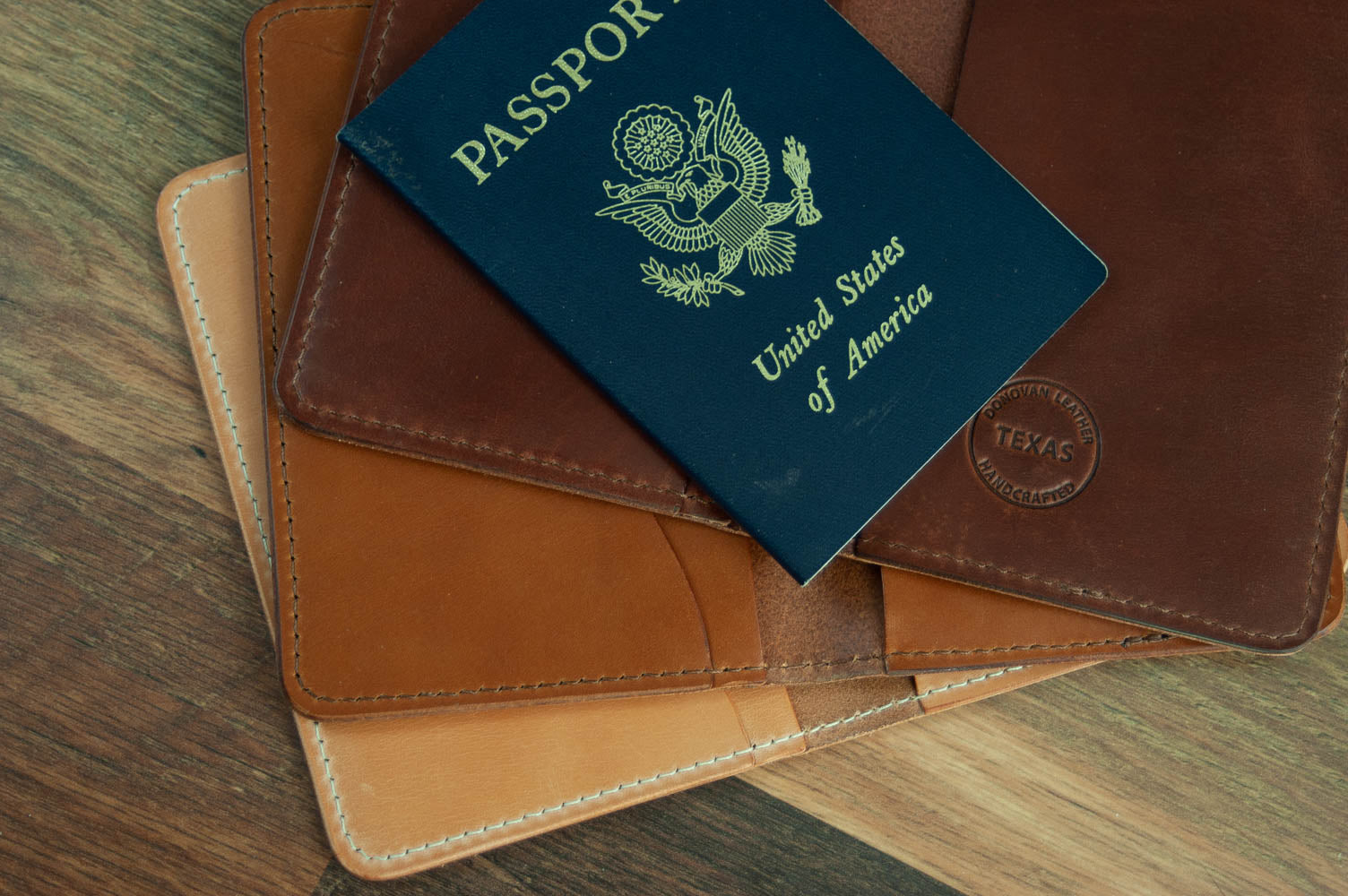 Passport Cover Rich Brown Donovan Leather Natural Tan