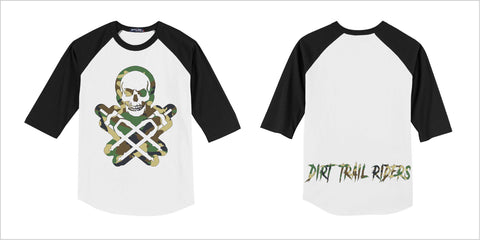 YOUTH 3/4 SLEEVE TRAIL JERSEY BLACK, WHITE AND GREEN CAMO