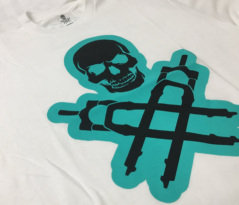 DTR LOGO TURQUOISE AND BLACK ON WHITE TEE