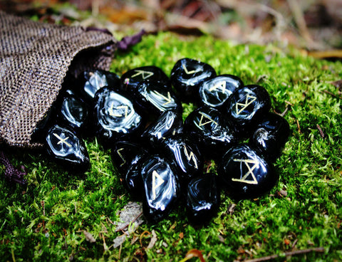 A beautiful Black Onyx Rune set handmade by Elfhame's resident witch. These runes feature the Elder Futhark including one blank rune for divinatory workings.