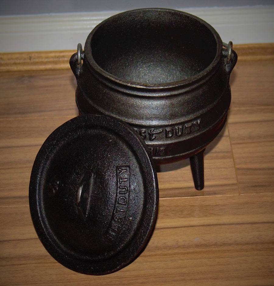 Cauldron Size ½  The cauldron is a feminine symbol, as seen in the tale of Cerridwen's cauldron, representing rebirth and renewal and the womb and the tomb ect…     Size: ½ (height 16cm, mouth circumference 13cm)  Volume: 1.2 litres  Weight: 2.7kg     Please note: The cauldrons are made from cast iron and have been treated making them safe for spell work and cooking. They have also been pre-sealed with a quality vegetable oil to prevent rust. If looked after correctly these cauldrons will last many many yea
