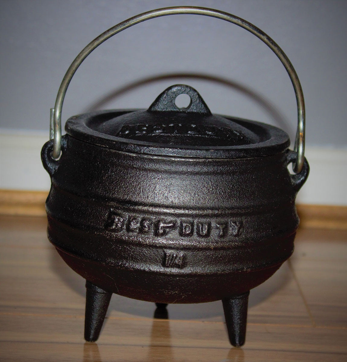 The cauldron is a feminine symbol, as seen in the tale of Cerridwen's cauldron, representing rebirth and renewal and the womb and the tomb ect…   Size: ¼ (height 10cm, mouth circumference 10cm)  Volume: 700ml  Weight: 1.4kg   Please note: The cauldrons are made from cast iron and have been treated making them safe for spell work and cooking. They have also been pre-sealed with a quality vegetable oil to prevent rust. If looked after correctly these cauldrons will last many many years to come.