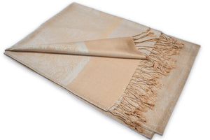 Champagne Gold Paisley Pashmina Scarf