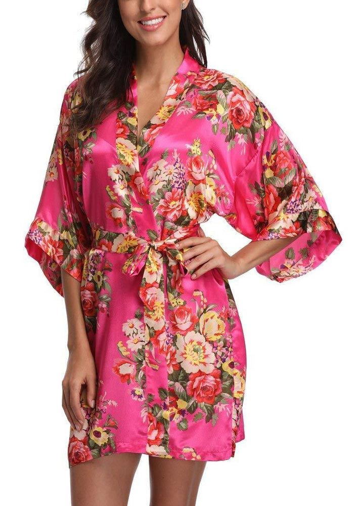 Hot Pink Baroque Floral Robe - Reception Flip Flops