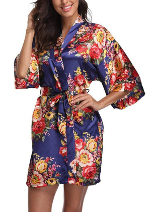 Navy Baroque Floral Robe - Reception Flip Flops