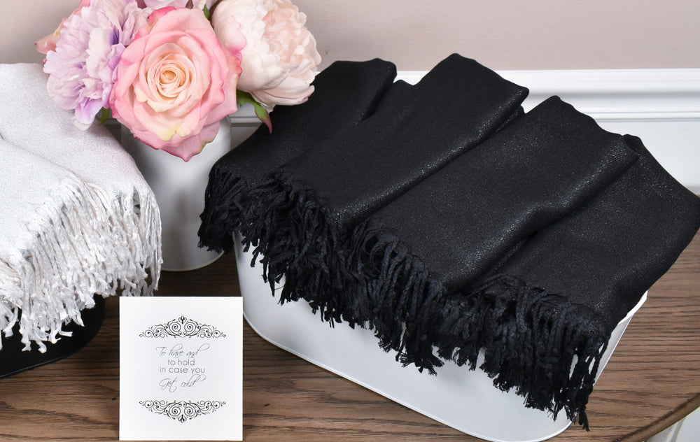 Black Metallic Pashmina Scarf