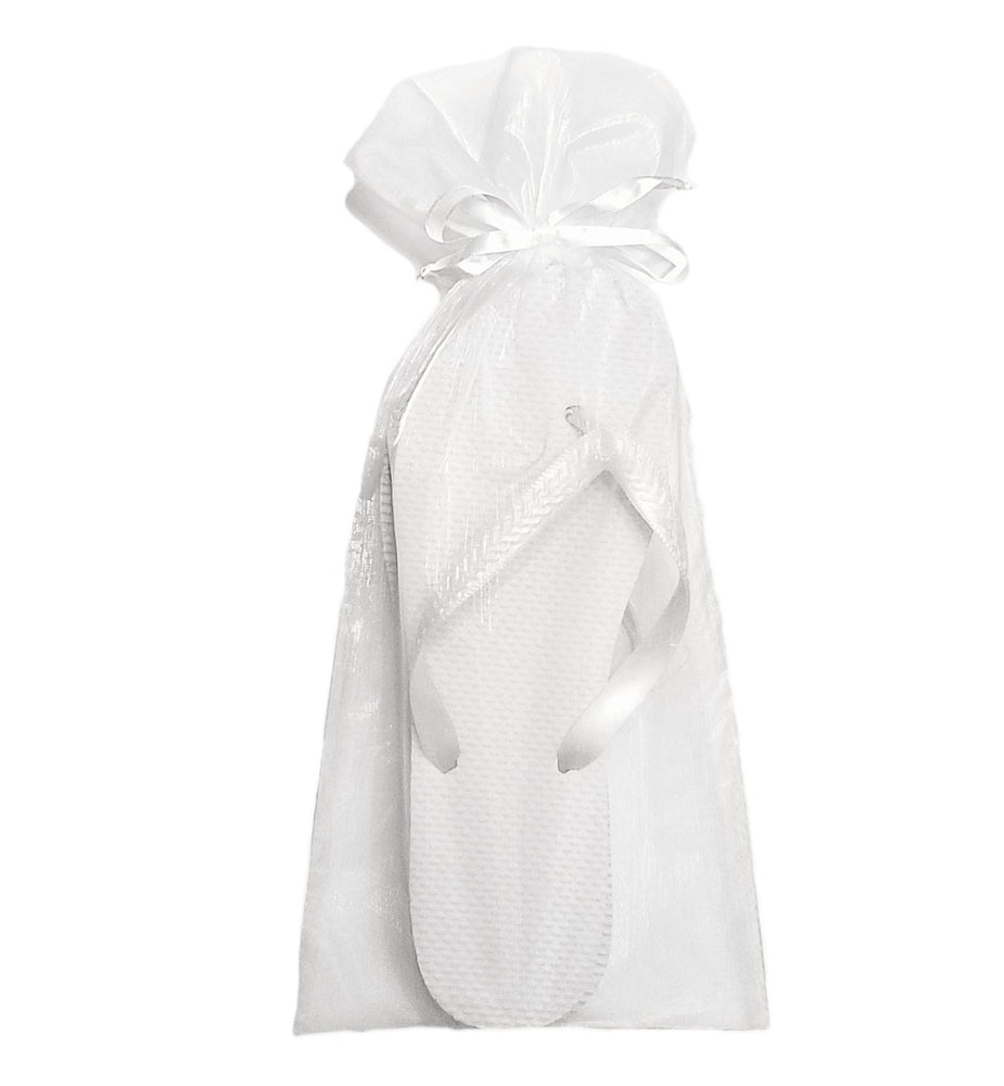 White Organza Bag - Reception Flip Flops