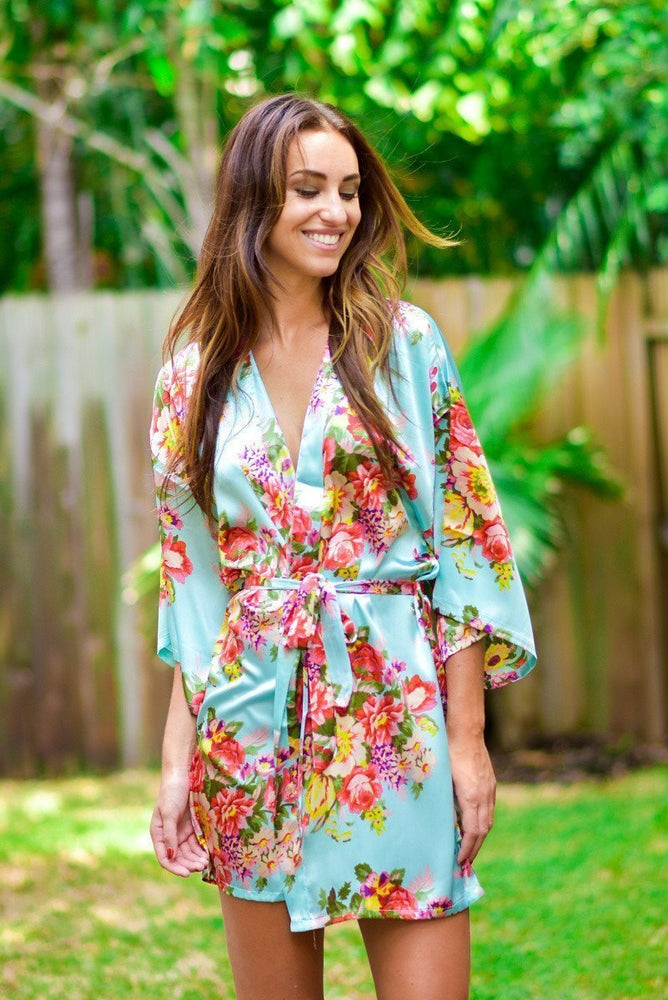 Mint Baroque Floral Robe