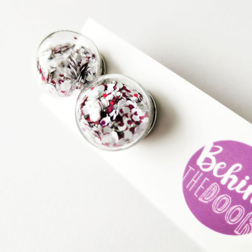 Bob White and Pink Shaker Glass Bauble Earrings