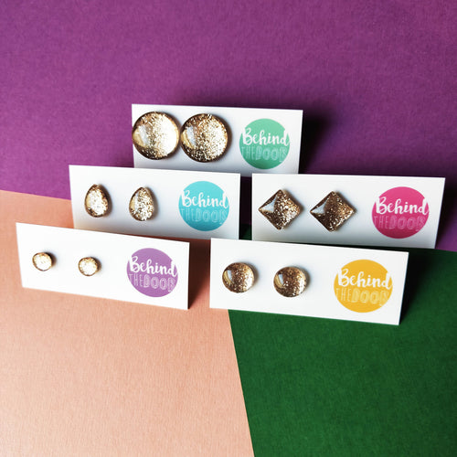 Champagne Gold Glass Stud Earrings