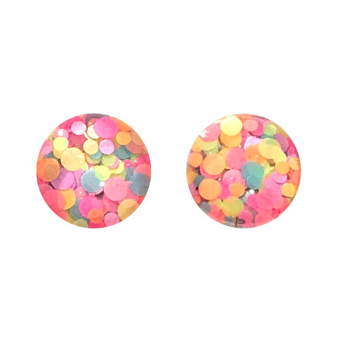 Neon Spots Glass Stud Earrings