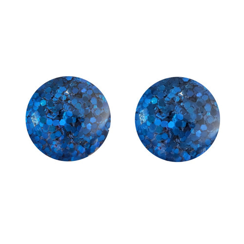 Blue Glitz Glass Stud Earrings