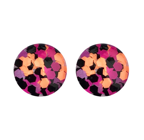 Tequila Sunrise Glass Stud Earrings