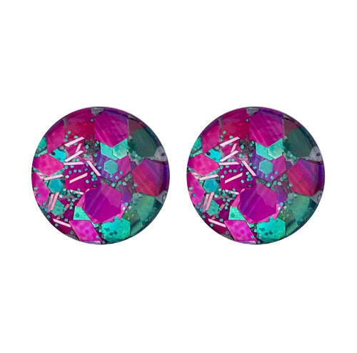 Peacock Palace Glass Stud Earrings