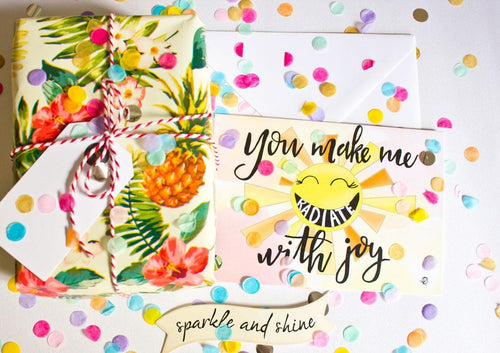 RADIATE WITH JOY, HANDMADE SUNSHINE FINE ART GREETING CARD FOR ANY OCCASION