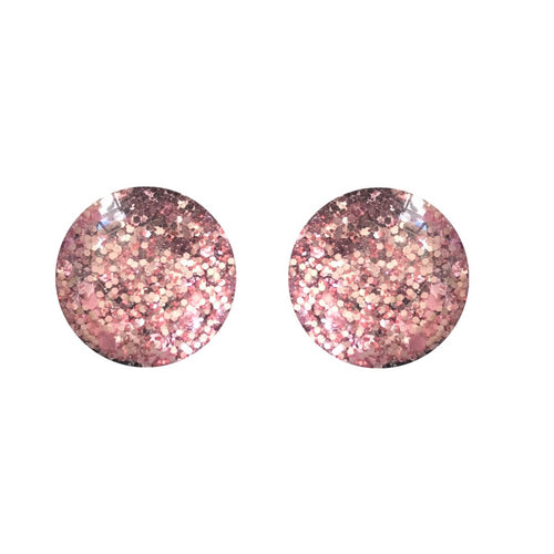 Antique Pink Glass Stud Earrings