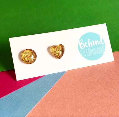 Gold '90s Glass Stud Earrings