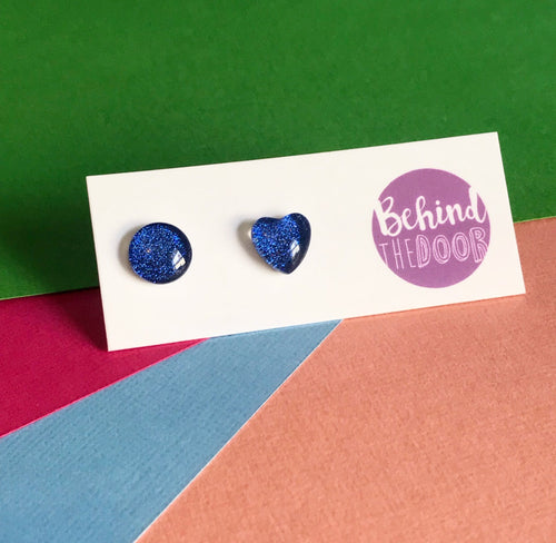 Blue '90s Glass Stud Earrings
