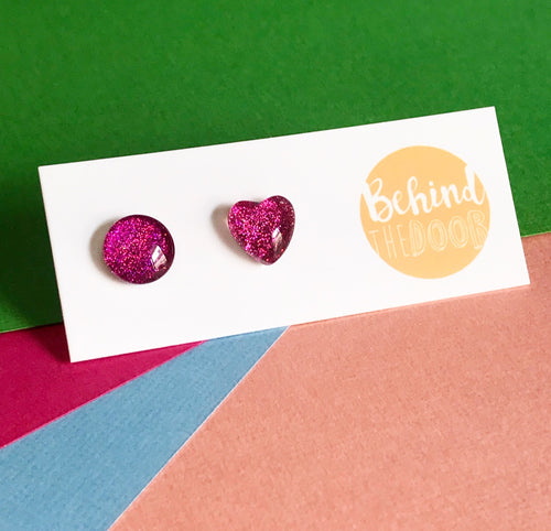 Pink '90s Glass Stud Earrings