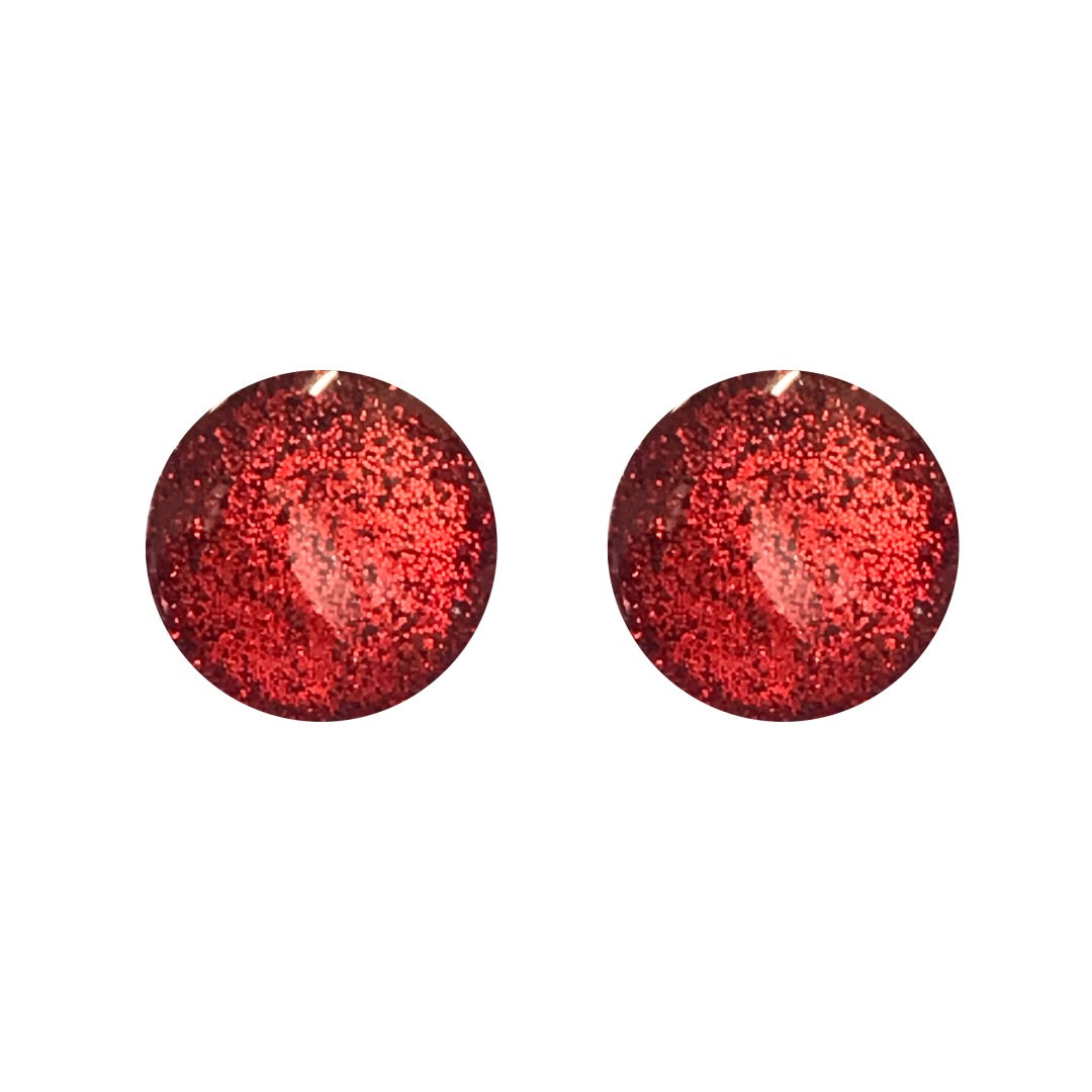 Ruby Metallic Glass Stud Earrings