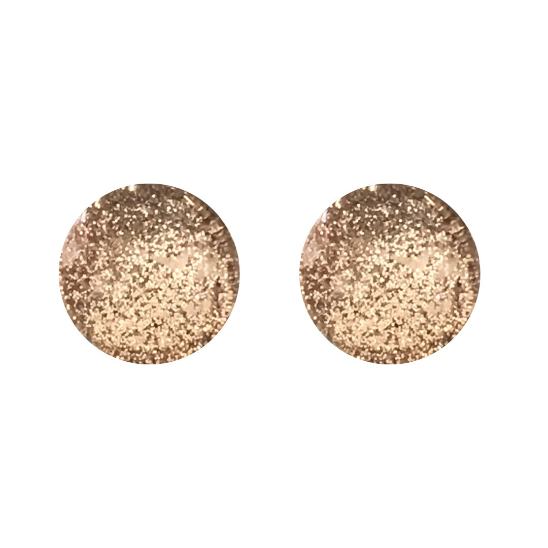 White Gold Metallic Glass Stud Earrings