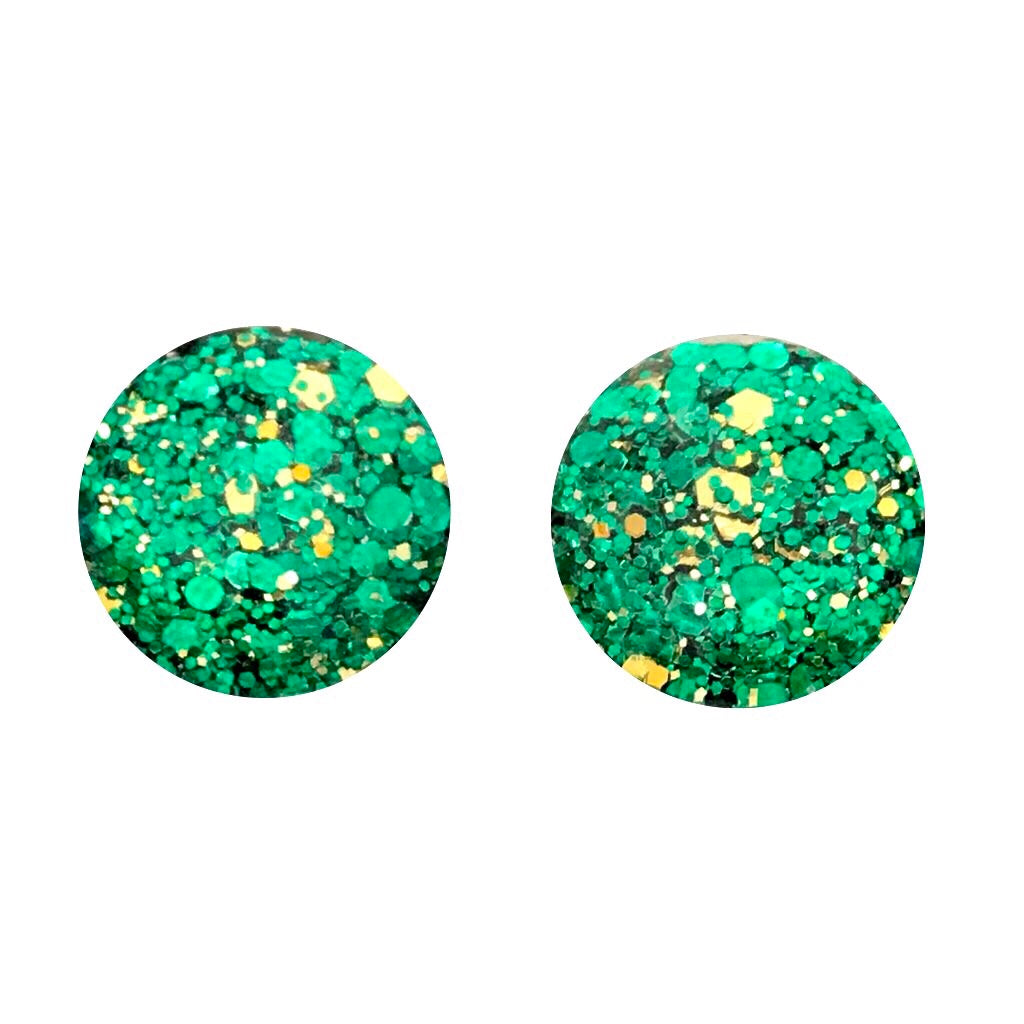 Green Eyes Glass Stud Earrings