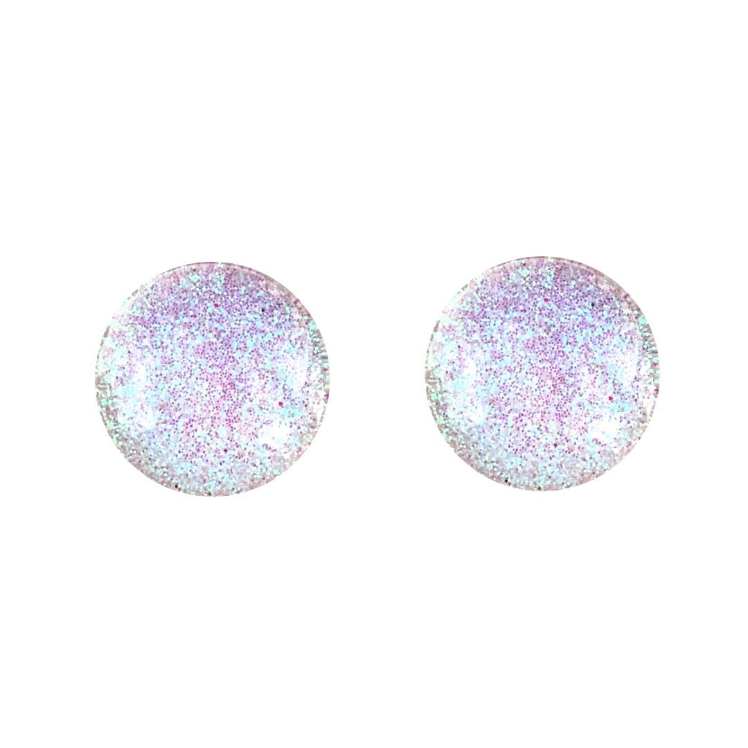 White Colour Block Glass Stud Earrings