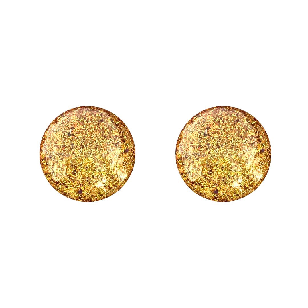 Gold Colour Block Glass Stud Earrings