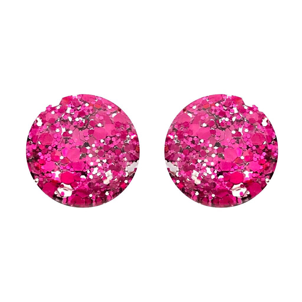 Pink Tinsel Glass Stud Earrings