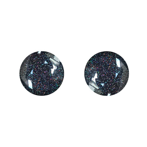 Black Colour Block Glass Stud Earrings