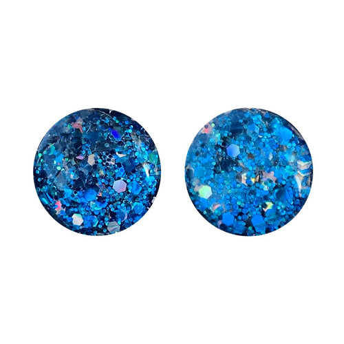 Blue Moon Glass Stud Earrings