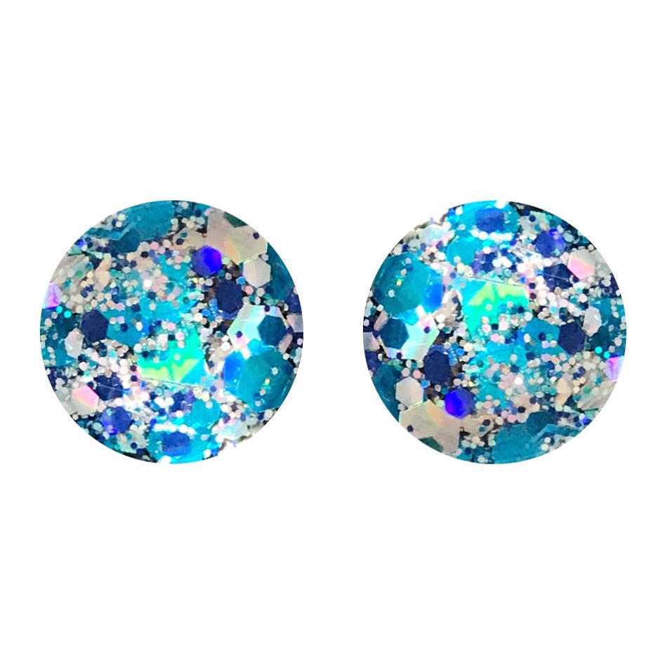 Snow Flake Glass Stud Earrings