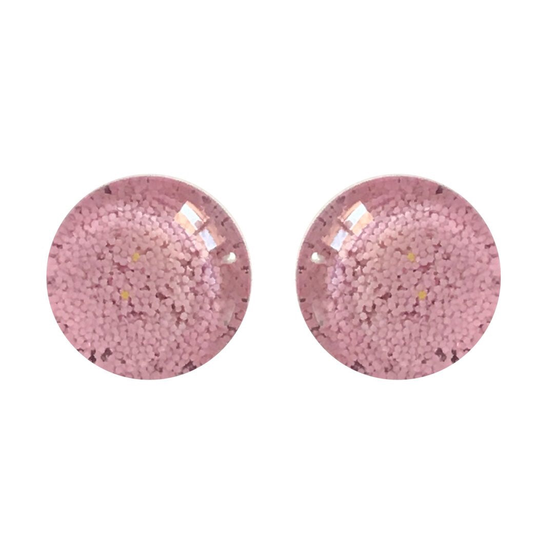 Blossom Pink Pastel Glass Stud Earrings RTS