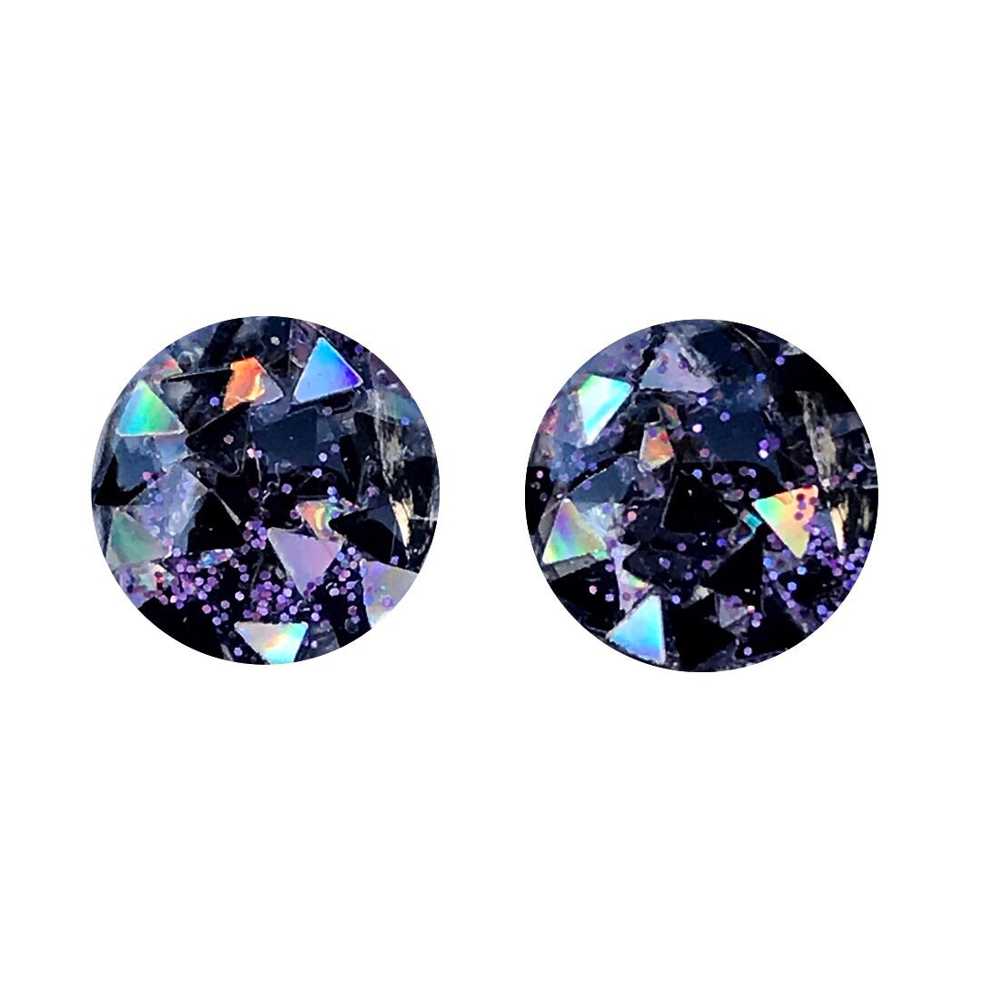 Love Triangle Glass Stud Earrings
