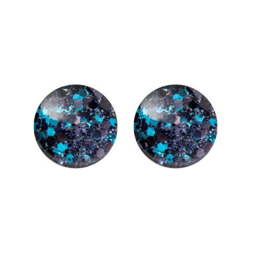 Black Ice Glass Stud Earrings