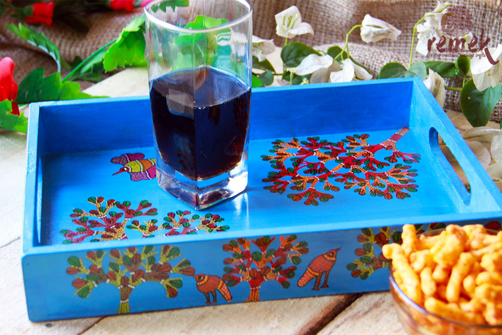 "Hand- painted ""Gond Art"" Tray - Clear Morning"