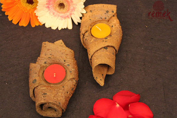 Pair of Terracotta Tea Light Holder