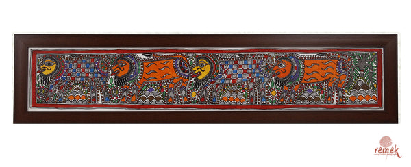 Madhubani Painting - King of the Jungle