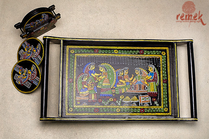 "Hand-painted ""Tikuli Art"" Tray from Bihar"