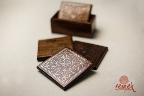 "Handcrafted ""Tarkashi Art"" Coasters from Rajasthan"